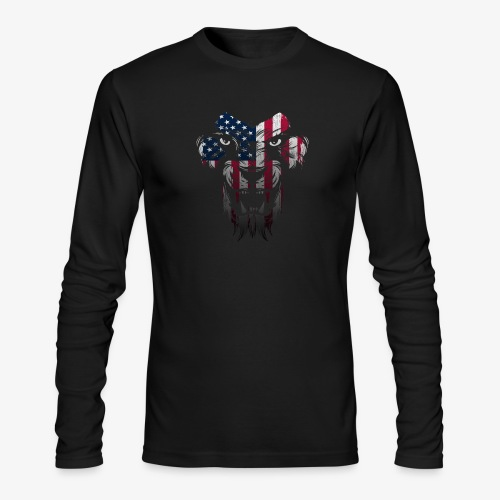 American Flag Lion Shirt - Men's Long Sleeve T-Shirt by Next Level