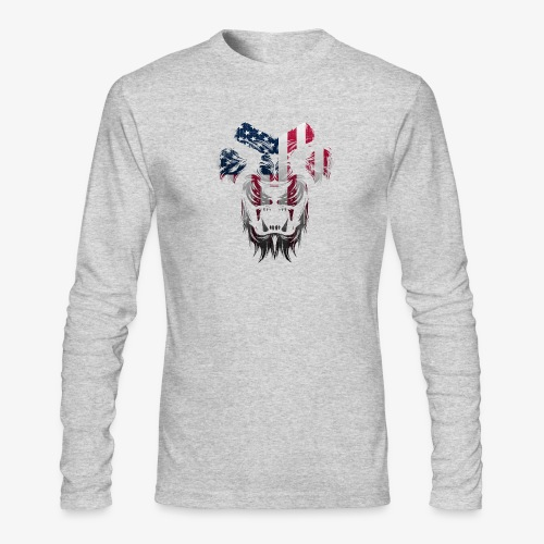 American Flag Lion Shirt - Men's Long Sleeve T-Shirt by Next Level