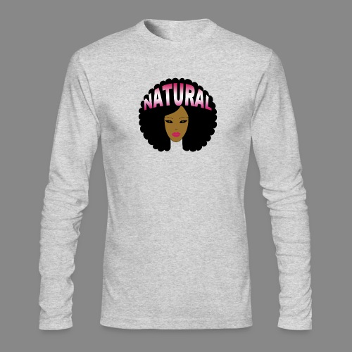 Natural Afro (Pink) - Men's Long Sleeve T-Shirt by Next Level