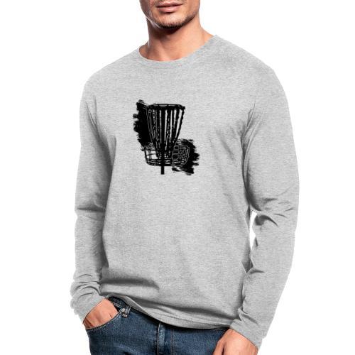 Disc Golf Basket Paint Black Print - Men's Long Sleeve T-Shirt by Next Level