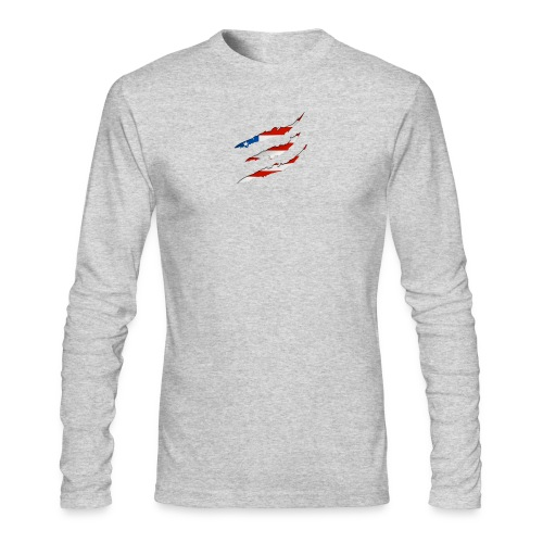 3D American Flag Claw Marks T-shirt for Men - Men's Long Sleeve T-Shirt by Next Level