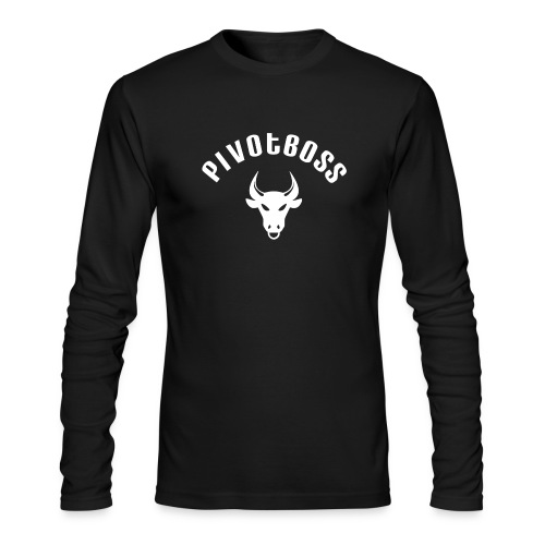 PivotBoss Curved Logo - White - Men's Long Sleeve T-Shirt by Next Level