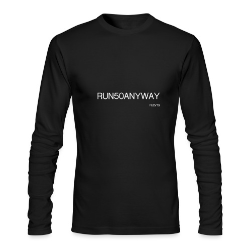 run 50 anyway white - Men's Long Sleeve T-Shirt by Next Level