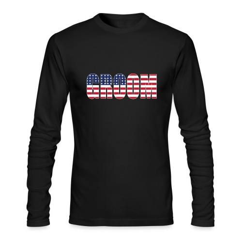 Groom US Flag - Men's Long Sleeve T-Shirt by Next Level