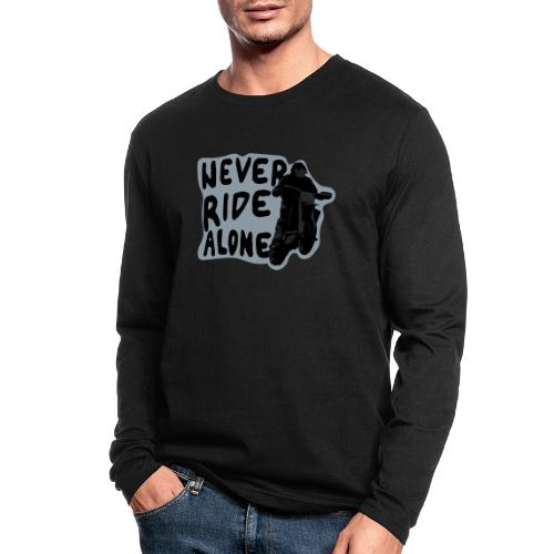 Never Ride Alone White - Men's Long Sleeve T-Shirt by Next Level