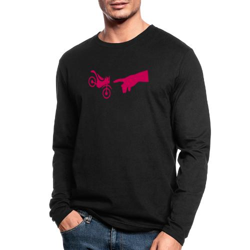 The hand of god brakes a motorcycle as an allegory - Men's Long Sleeve T-Shirt by Next Level