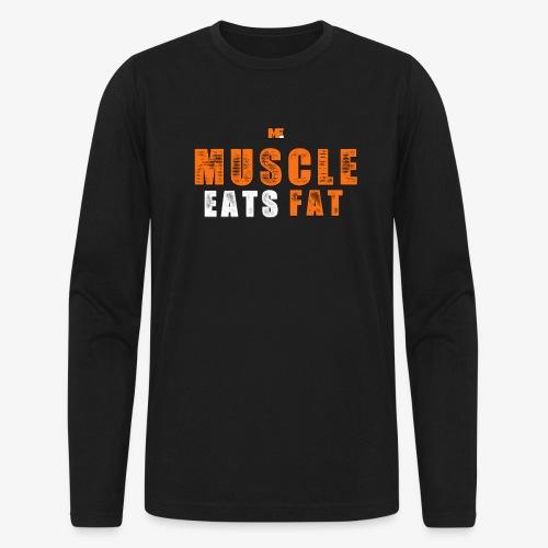 Muscle Eats Fat White Orange Edition - Men's Long Sleeve T-Shirt by Next Level