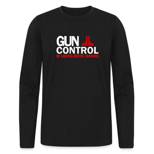 Gun control, White FONT - Men's Long Sleeve T-Shirt by Next Level