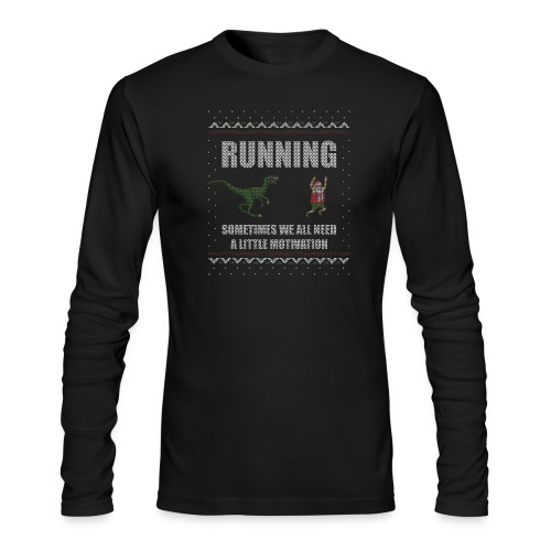 Ugly Christmas Sweater Running Dino and Santa - Men's Long Sleeve T-Shirt by Next Level