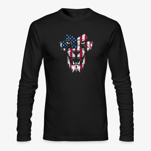American Flag Lion - Men's Long Sleeve T-Shirt by Next Level