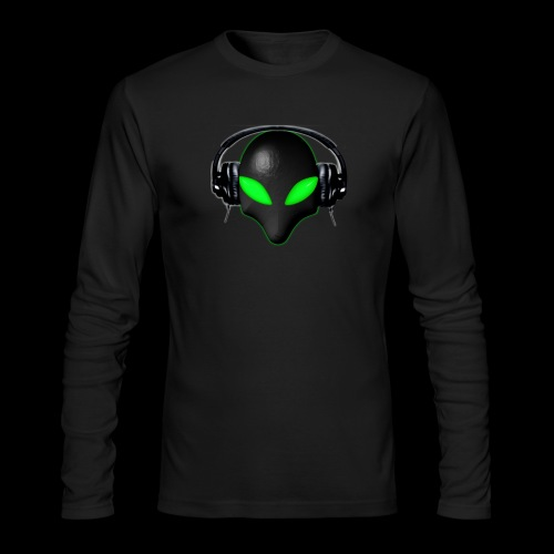 Alien Bug Face Green Eyes in DJ Headphones - Men's Long Sleeve T-Shirt by Next Level