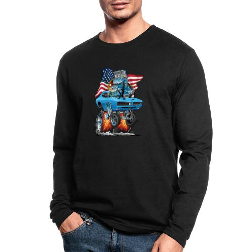 Patriotic Sixties American Muscle Car with Flag - Men's Long Sleeve T-Shirt by Next Level