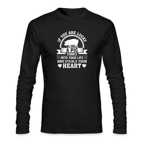 Mini Pig Comes Your Life Steals Heart - Men's Long Sleeve T-Shirt by Next Level
