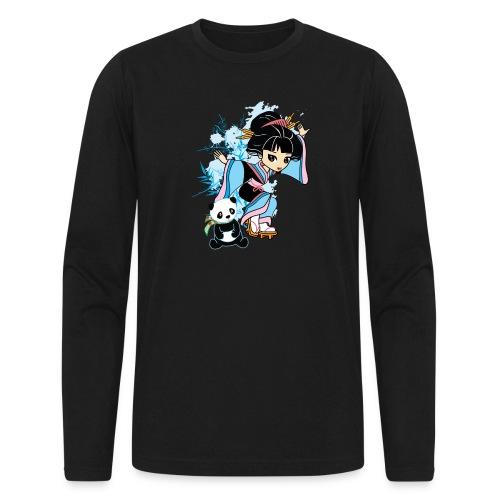 Cartoon Kawaii Geisha Panda Ladies T-shirt by - Men's Long Sleeve T-Shirt by Next Level