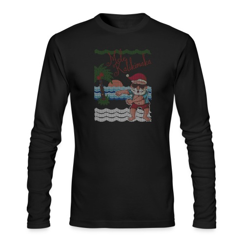 Ugly Christmas Sweater Hawaiian Dancing Santa - Men's Long Sleeve T-Shirt by Next Level