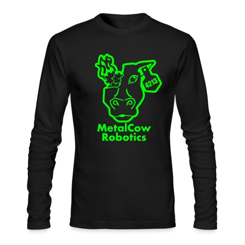MetalCowLogo GreenOutline - Men's Long Sleeve T-Shirt by Next Level