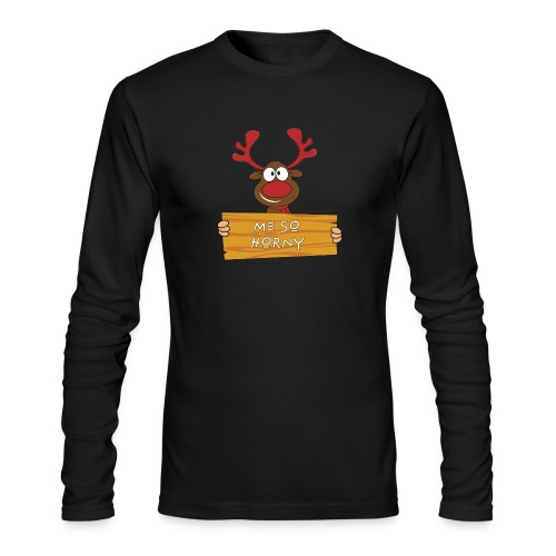 Red Christmas Horny Reindeer 9 - Men's Long Sleeve T-Shirt by Next Level