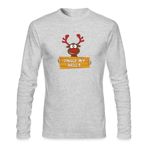Red Christmas Horny Reindeer 1 - Men's Long Sleeve T-Shirt by Next Level