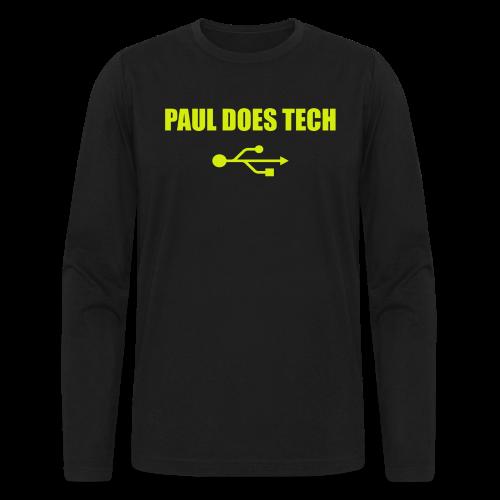 Paul Does Tech Yellow Logo With USB (MERCH) - Men's Long Sleeve T-Shirt by Next Level