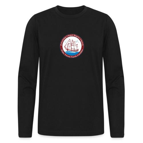 ship art burgundy blue 3 - Men's Long Sleeve T-Shirt by Next Level