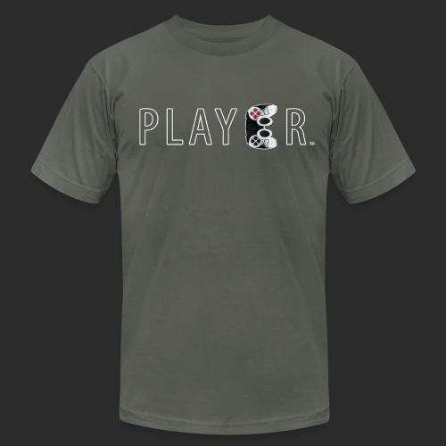 Player Wht Outline FINAL png - Unisex Jersey T-Shirt by Bella + Canvas