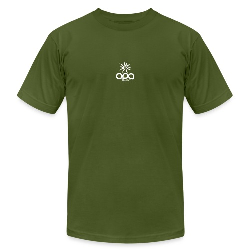 Short Sleeve T-Shirt with small all white OPA logo - Unisex Jersey T-Shirt by Bella + Canvas
