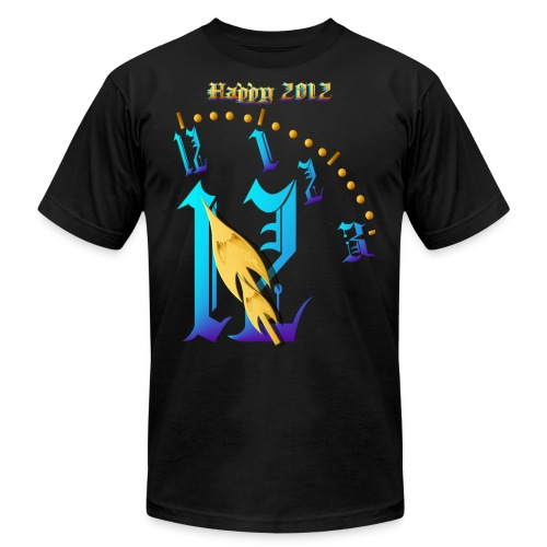 Happy 2012-Clock Striking 12:NM - Unisex Jersey T-Shirt by Bella + Canvas