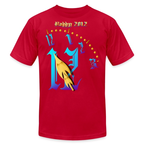 Happy 2012-Clock Striking 12:NM - Unisex Jersey T-Shirt by Bella + Canvas