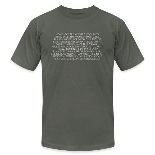 Jazz Greats 1 TShirt (White Lettering) - Unisex Jersey T-Shirt by Bella + Canvas
