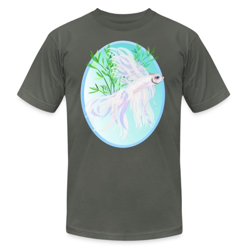 White Siamese Fighting Fish Oval - Unisex Jersey T-Shirt by Bella + Canvas