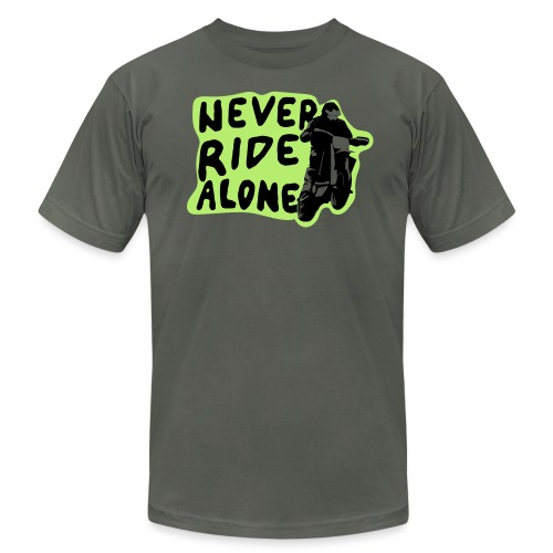 Never Ride Alone White - Unisex Jersey T-Shirt by Bella + Canvas