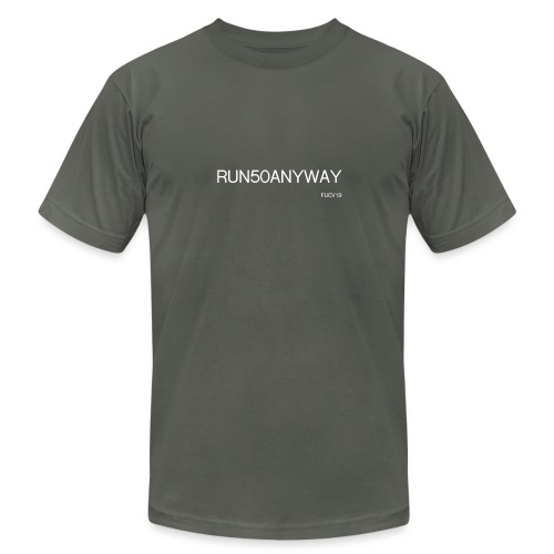 run 50 anyway white - Unisex Jersey T-Shirt by Bella + Canvas