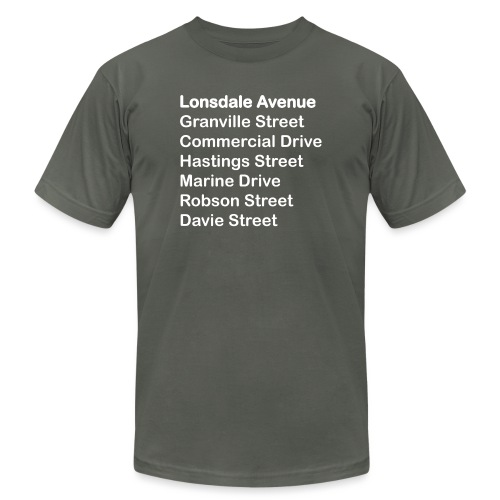 Street Names White Text - Unisex Jersey T-Shirt by Bella + Canvas