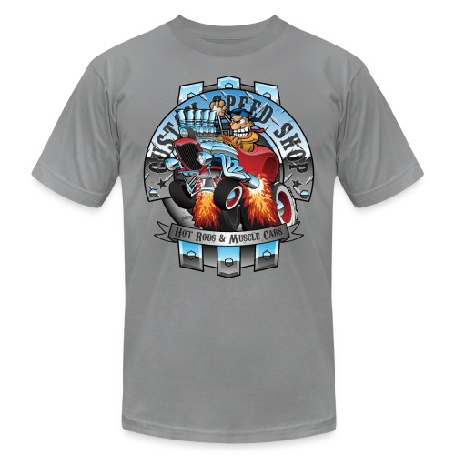 Custom Speed Shop Hot Rods and Muscle Cars Illustr - Men's  Jersey T-Shirt