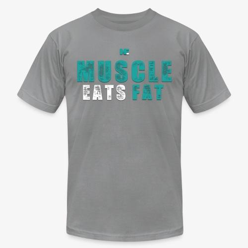 Muscle Eats Fat (Aqua White) - Unisex Jersey T-Shirt by Bella + Canvas