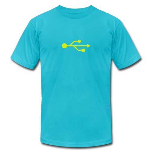 Yellow USB Logo Mid - Men's Jersey T-Shirt