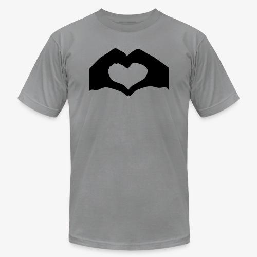 Silhouette Heart Hands   Mousepad - Unisex Jersey T-Shirt by Bella + Canvas