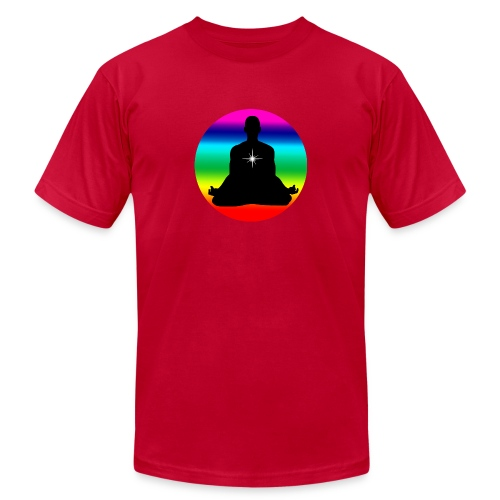 Meditation with rainbow colors - Unisex Jersey T-Shirt by Bella + Canvas