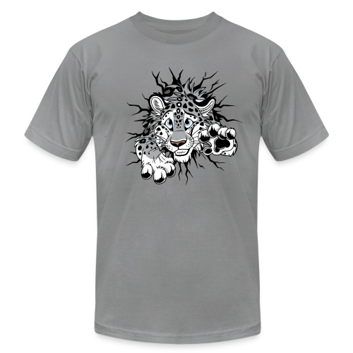 STUCK Snow Leopard (double-sided) - Unisex Jersey T-Shirt by Bella + Canvas