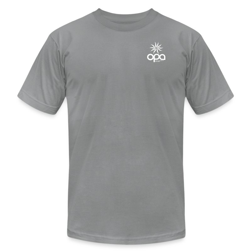 Short Sleeve T-Shirt with small all white OPA logo - Men's Fine Jersey T-Shirt