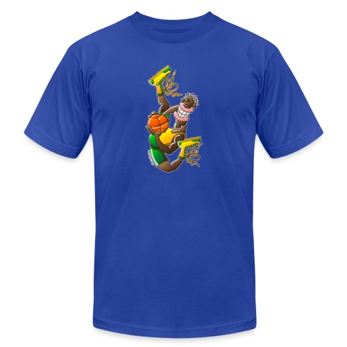 Acrobatic basketball player performing a high jump - Unisex Jersey T-Shirt by Bella + Canvas