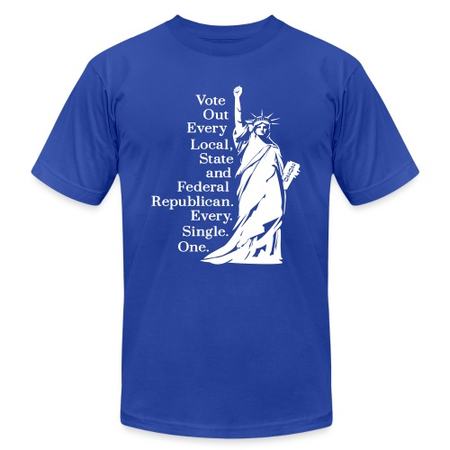 Vote Out Republicans Statue of Liberty - Unisex Jersey T-Shirt by Bella + Canvas