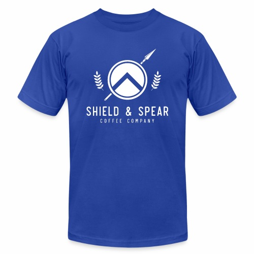 Shield and Spear White Logo - Men's  Jersey T-Shirt