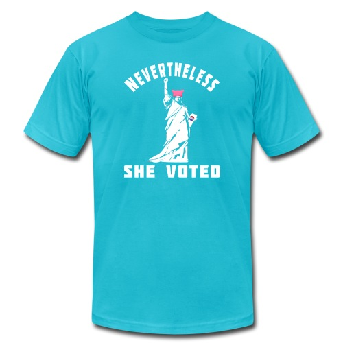 Nevertheless She Voted Pink Hat Lady Liberty - Unisex Jersey T-Shirt by Bella + Canvas