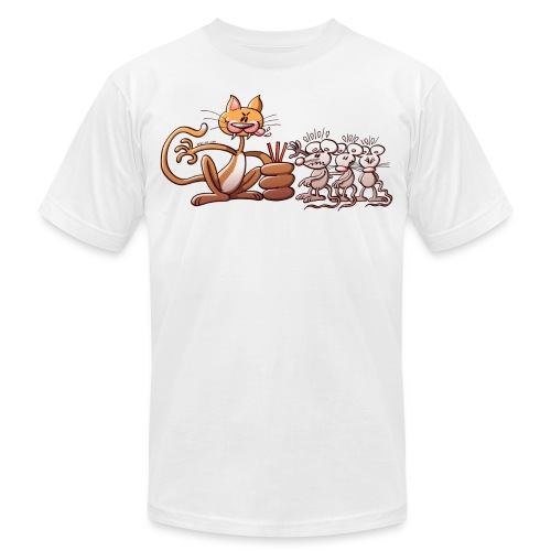 Cat Choosing a Mouse by Drawing the Short Straw - Unisex Jersey T-Shirt by Bella + Canvas