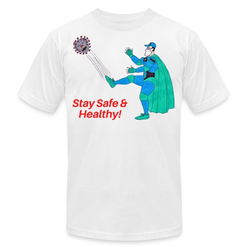 PYGOD Man kicking COVID 19 - Stay Safe Healthy - Unisex Jersey T-Shirt by Bella + Canvas