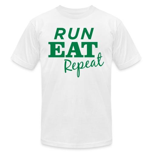 Run Eat Repeat buttons medium - Unisex Jersey T-Shirt by Bella + Canvas