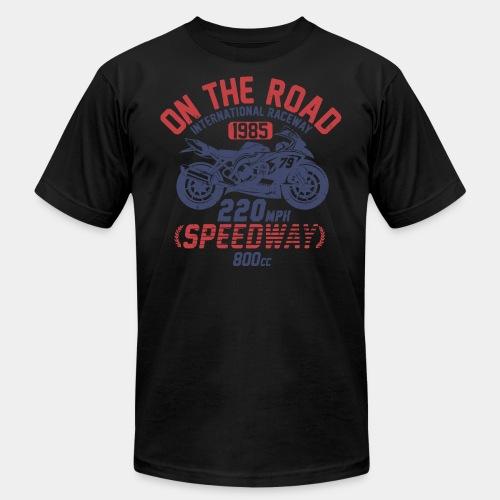 biker motorcycle race speed vintage road - Unisex Jersey T-Shirt by Bella + Canvas