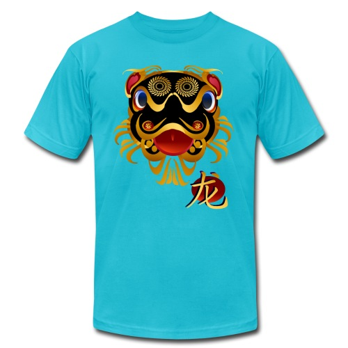 Black n Gold Chinese Dragon 's Face and Symbol - Unisex Jersey T-Shirt by Bella + Canvas