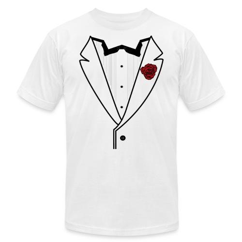 Tuxedo w/Black Lined Lapel - Unisex Jersey T-Shirt by Bella + Canvas